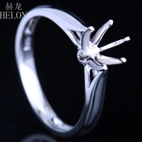 HELON 5.5 6.5mm Round Classic Solitaire Solid 14K White Gold Semi Mount Engagement Wedding Women Jewelry Ring Setting wholesale
