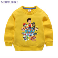 Muffurriベビー服漫画男の子女の子tシャツ春秋ロングスリーブtシャツ子供の服ポウパトロール子供トップスを·ティー