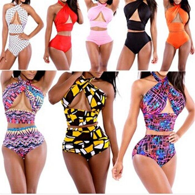 d76ee8f1bb27d Plus Size Criss Cross Halter Top High Waisted Bathing Suits Sexy Wrap Bikini  Set Print Swimwear Women Bandage Swimsuit
