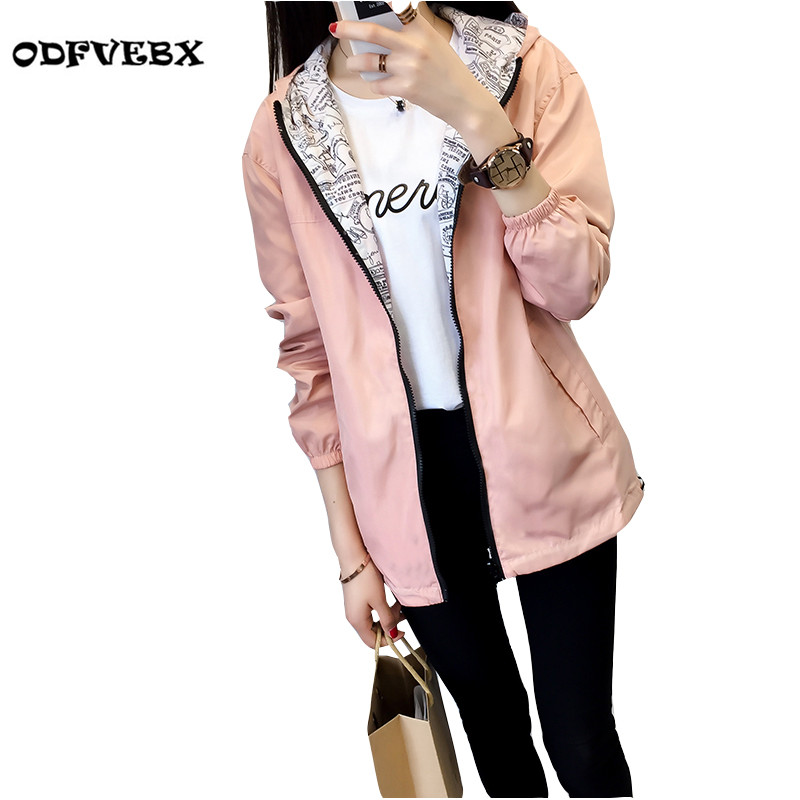 Boutique 2018 new windbreaker jacket female spring autumn Zipper pocket with cap both sides wear loose print coat women ODFVEBX