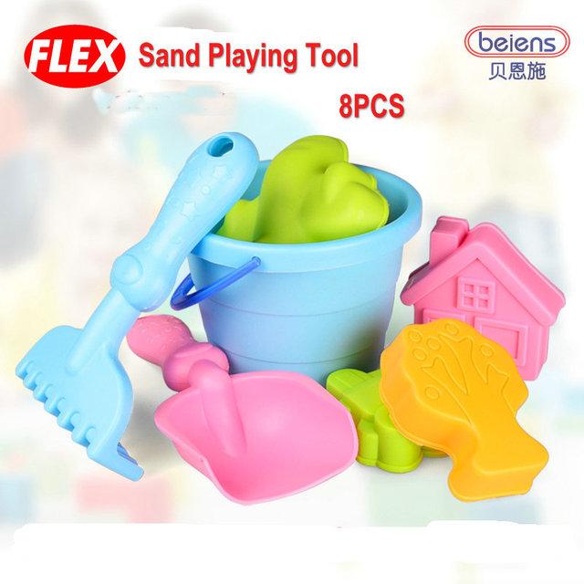8 pçs/set de alta qualidade marca Flex PP plástico brinquedo do banho do bebê areia ferramenta de jogo para crianças brinquedos de praia crianças verão brinquedos ao ar livre presentes
