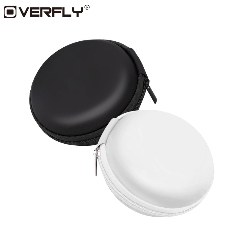 Overfly Portable Case for Headphones Case Mini Zippered Round Storage Hard Bag Headset Box for Earphone Case SD TF Cards portable pp1440 cd zippered bag black page 6