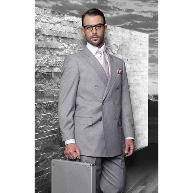 Double Breasted Groom men suit Tuxedos Grey 2017 Notch Lapel Man ...