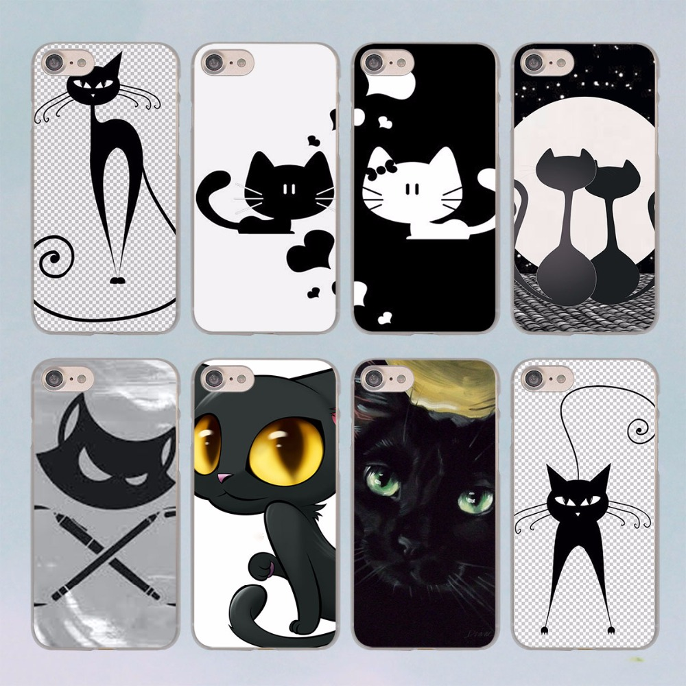 compare prices on designer iphone  case cat online shoppingbuy  - black cat cartoon design transparent clear hard case cover for apple iphone s plus