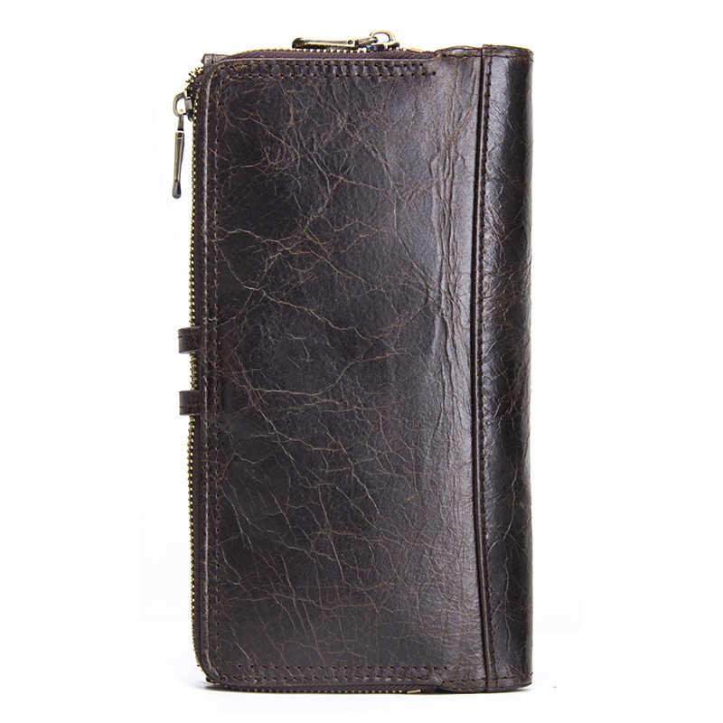 Контакта из натуральной кожи Для мужчин кошелек, длинные бумажники с сотовый телефон карман Для женщин модная сумка-клатч, кошелек для монет Кошельки женский кошелек
