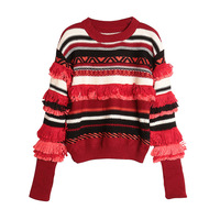 High Fashion Winter Tassesl Striped Pullover Sweater Top Women O Neck Stylish Sweater