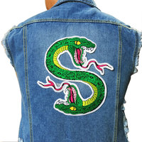1Pair Cute Green Snake Patch Sewing On Embroidered Patch For Jacket Clothes Vest DIY Apparel Accessories