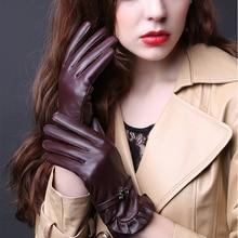 2019 N Leather Gloves Ladies Autumn Winter Thick Plus Warm 100%Sheepskin Gloves Driving Riding Lambskin Gloves Women TBWA593