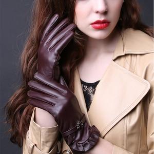 Image 1 - 2019 N Leather Gloves Ladies Autumn Winter Thick Plus Warm 100%Sheepskin Gloves Driving Riding Lambskin Gloves Women TBWA593