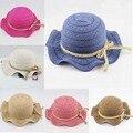 Solid Beach Floppy Sombrero de Sun Del Bebé Del Verano de Paja sombrero de Los Niños Gorras Sombrero Del Bebé Niños Salacot BH0895