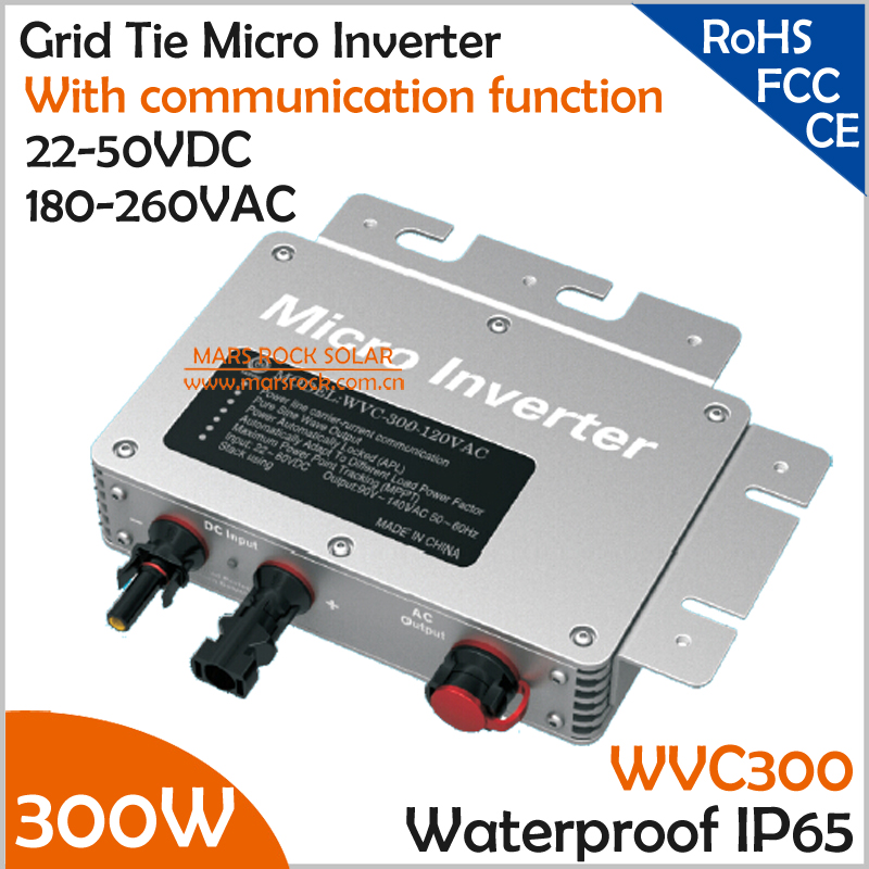 300W Waterproof Grid Tie Micro Inverter with Communication for 300W PV Panel 22-45VDC 190-260VAC MPPT Pure Sine Wave Inverter 22 50v dc to ac110v or 220v waterproof 1200w grid tie mppt micro inverter with wireless communication function for 36v pv system
