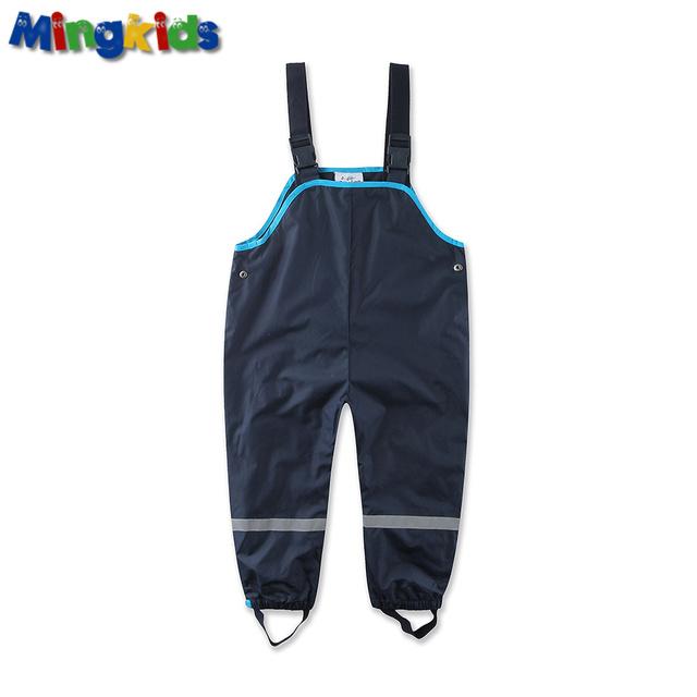 Mingkids muchacho overoles impermeables pantalones de algodón acolchado exterior pantalones alemanes calidad a prueba de viento pantalones de lluvia 104-128 tamaño europeo