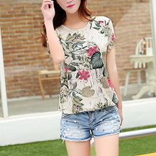 women Blouse Fashion floral print vintage Cotton and linen loose printed chiffon shirt Women elegant  casual shirt