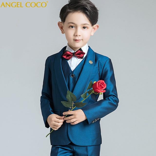 6 Piece (Suit  Pants  Bow Tie  Shirt  Vest  Brooch) Children Blazer Set Costume Enfant Garcon Mariage Boys Suits For Wedding