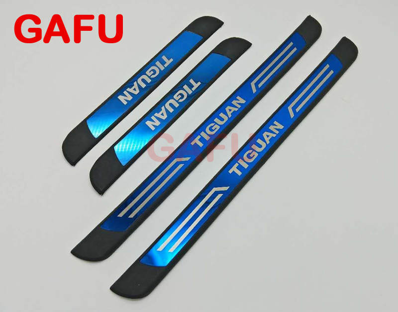 Free Shipping Door Sill Scuff Plate Stainless Steel Welcome Pedal Car Accessories For VW Tiguan 2017