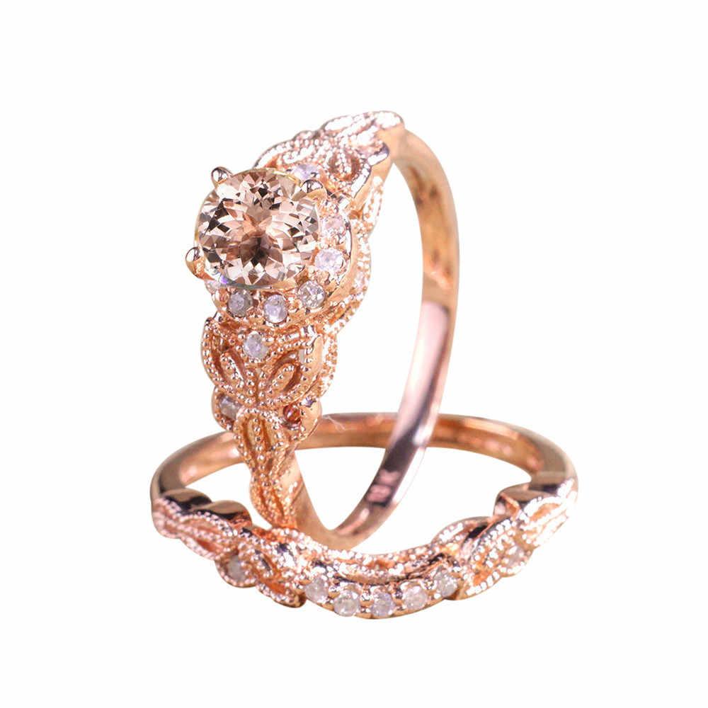 2019 Mới Thời Trang Phụ Nữ Trái Tim 1 Cặp Thời Trang Vòng/Set Rose Gold Đầy Cưới Tham Gia Hợp Kim Vòng Đối Với phụ nữ ngón tay Nhẫn