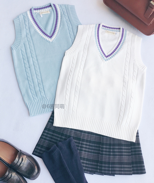 ca9b121fec7c Cute Women s Preppy Style Japanese JK Uniform V Neck Vest Twisted ...