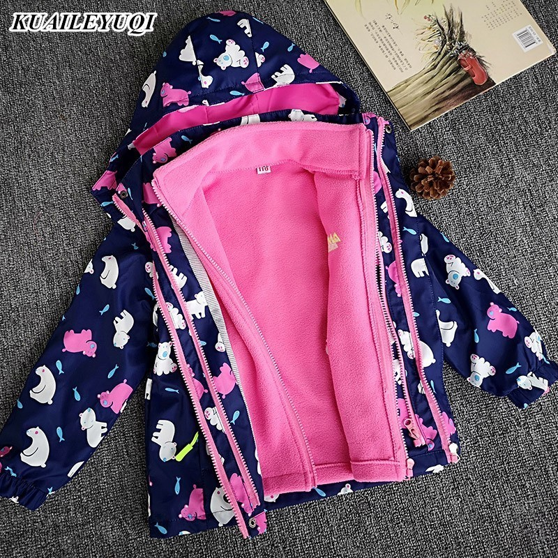 New Children Polar Fleece Jacket Baby Boy Girl Sport Kids Coat 2pcs Hooded Waterproof Windbreaker Clothing Autumn Winter Clothes