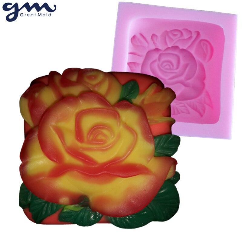Moldes de silicona de flor de molde de jabón rosa 3D para moldes de - Artes, artesanía y costura