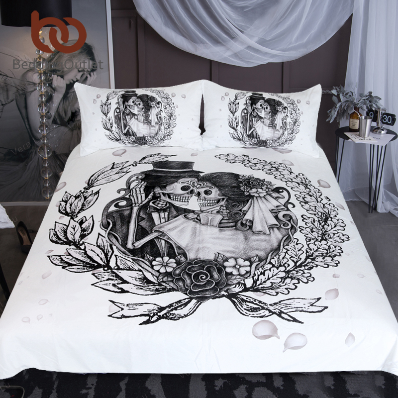 Beddingoutlet Skull Bedding Set Queen Wedding Dress Duvet Cover S Vintage Gothic Home Textiles Fl Top Rated Bed