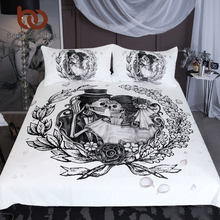 BeddingOutlet Skull Bedding Set Queen Wedding Dress Duvet Cover Couples Vintage Gothic Home Textiles Floral Top Rated Bed Set