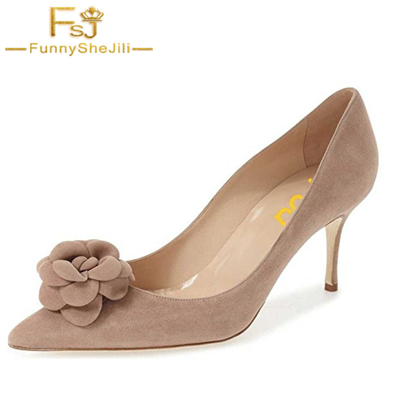 Nude Fashion 2017 Autumn Suede Women Flower Pumps Pointed Toe High Heels 8cm Dress Ladies Wedding Shoes FSJ Plus Size 11 new 2017 spring summer women shoes pointed toe high quality brand fashion womens flats ladies plus size 41 sweet flock t179