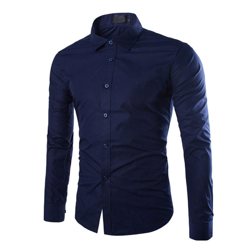 Fashion Spring Autumn Men Work Shirt Long Sleeve Solid Color Easy-Care Anti Wrinkle Man Casual Shirts M-3XL FS99