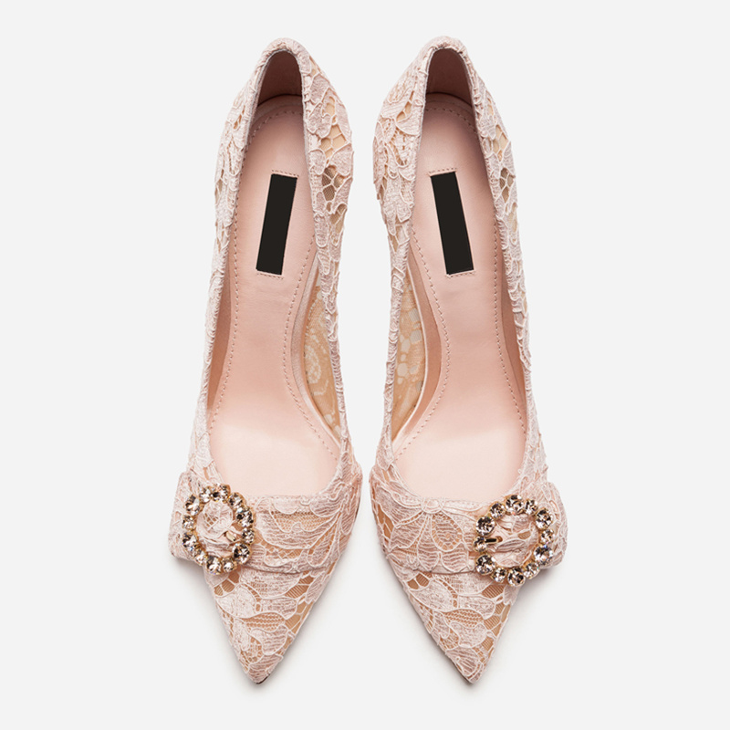 31563d40bf8b Brand Stiletto Heels Pointed Toe Woman Pumps Glitter Crystal Decor Buckle Embellished  Woman Shoes Lace Chic