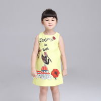 Children Clothing Cute Summer Girl Dress Cartoon Pattern Vest Dresses Fashion Princess Dress Baby Girl Clothes