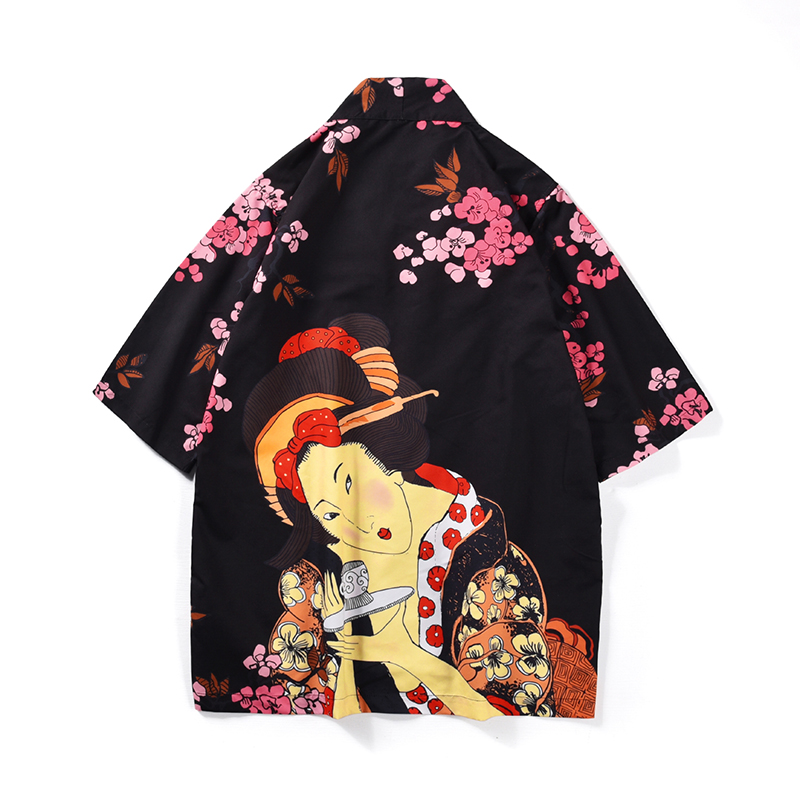 2019 Fashion Men's Kimono Shirt Cardigan Women   Trench   Coat Japanese Style Flowers Loose Fit Polyester Man Tops Summer Clothing