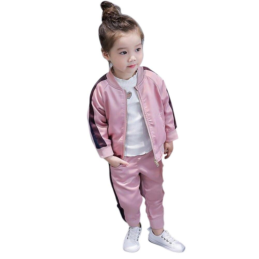Baby Girls Kids Winter Warm Sport Jacket Coat Pant Trousers Sportwear 2Pcs Sets