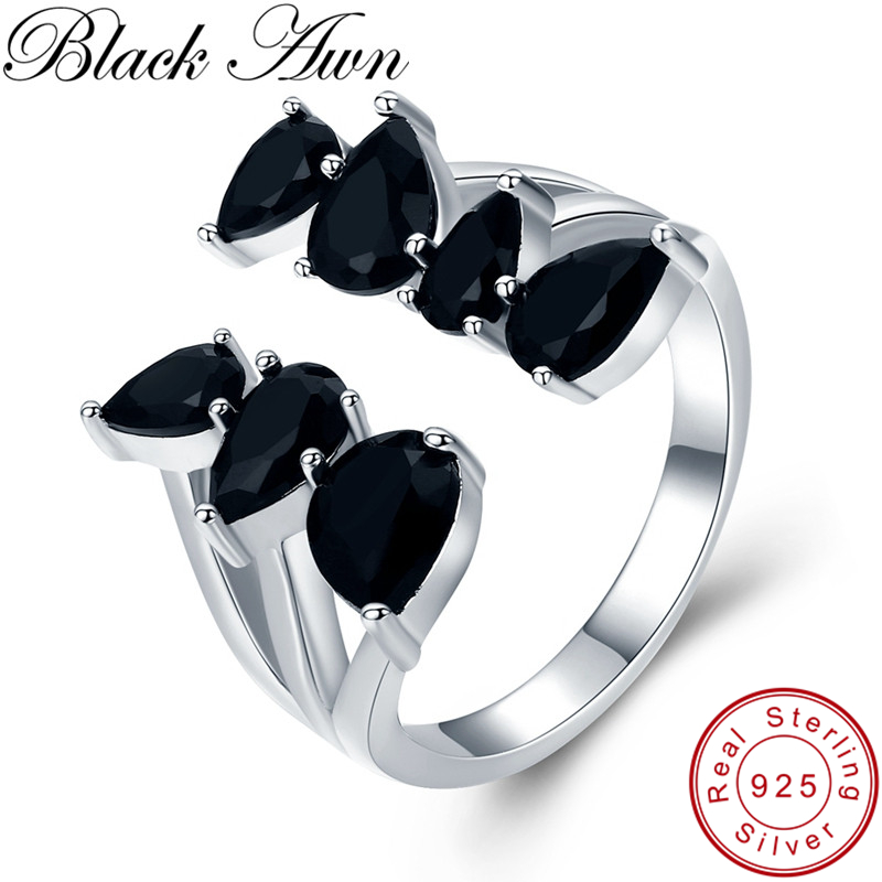 BLACK AWN Real 925 Sterling Silver Ring Black Spinel Leaf Open Elegant Rings For Women Sterling Silver Jewelry G030