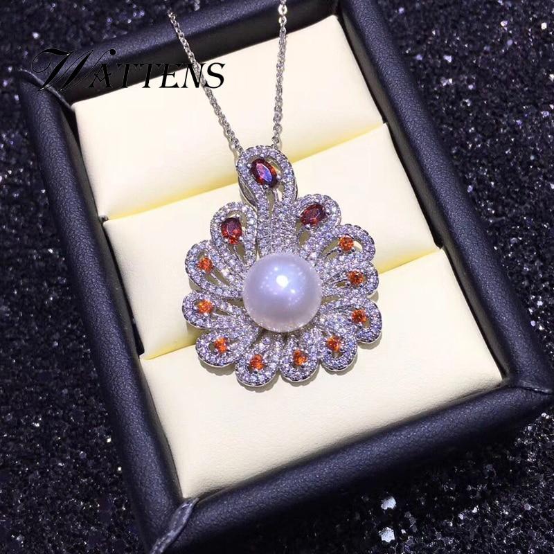 925 sterling silver collana di phoenix per le donne Naturale d'acqua dolce collane di perle pendenti Zircone catena nuziale dei monili Della Boemia