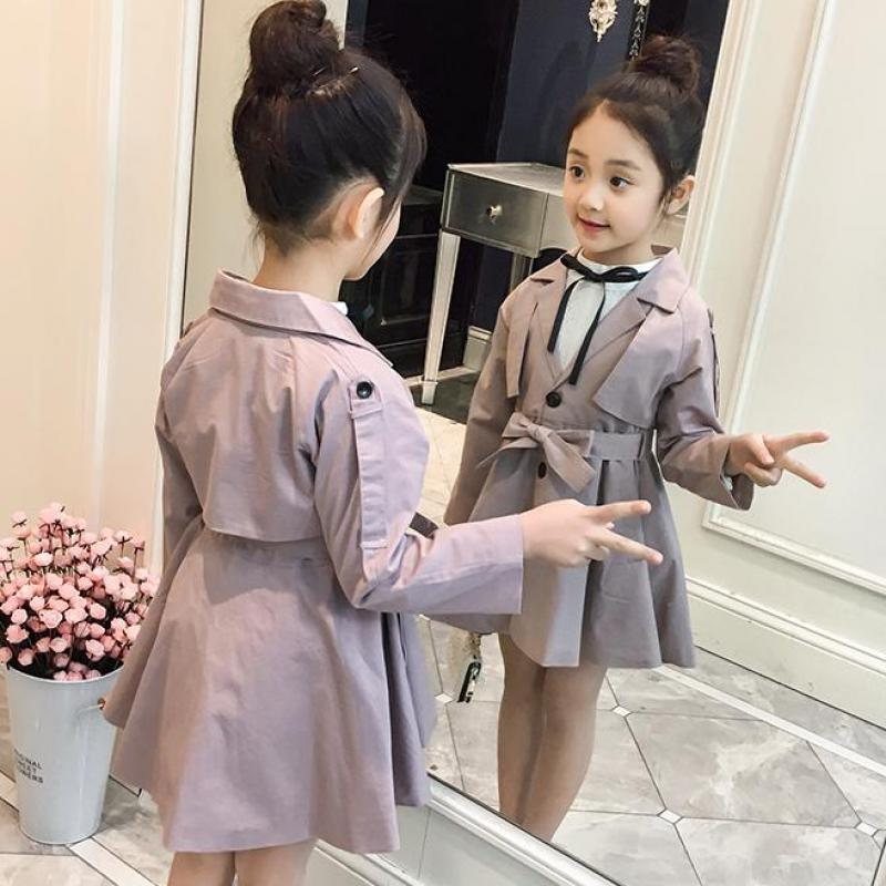 2018 Korean Style Baby Girls Trench Coat Autumn Kid Long Sleeve Turn Down Collar Windbreaker Outerwear Fashion Children Clothing casual turn down collar color block drawstring design long sleeve coat for women