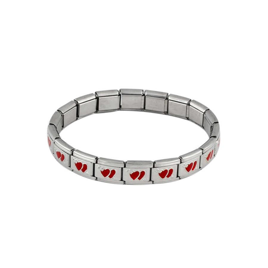 2018 新ファッションジュエリーブレスレットレディースメンズシルバー赤ハートカップルブレスレット腕輪チャームギフトステンレス鋼ブレスレット