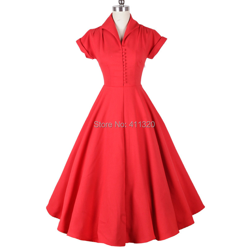 V207 2015 Womens Classic 1950s 60s Celebrity Vintage Retro Style Rockabilly Pin up Swing Summer Red Wedding Party Dresses (7).jpg