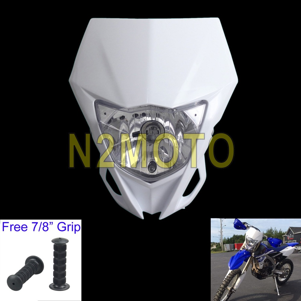 Motocross Headlight 12V 35W Headlamp for Yamaha WR250F WR450F KAWASAKI KLX KX 250 450 2012-2016 White DirtbikeMotocross Headlight 12V 35W Headlamp for Yamaha WR250F WR450F KAWASAKI KLX KX 250 450 2012-2016 White Dirtbike