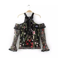 Summer Transparent Blouse Halter Casual Shirt Long Sleeve Blouse Elegant Bow Women Blouse Sexy Floral Vintage