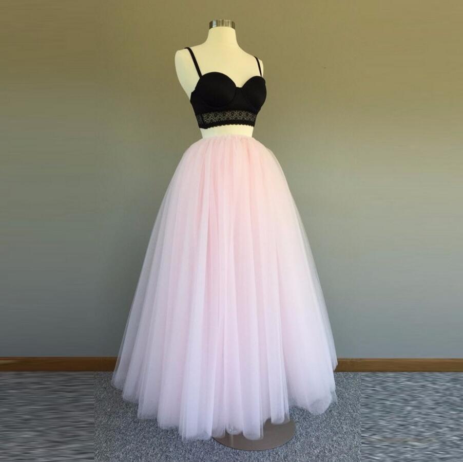 Belle longueur de taille en Tulle rose clair jupe longue pleine longueur jupes longues personnalisées femmes
