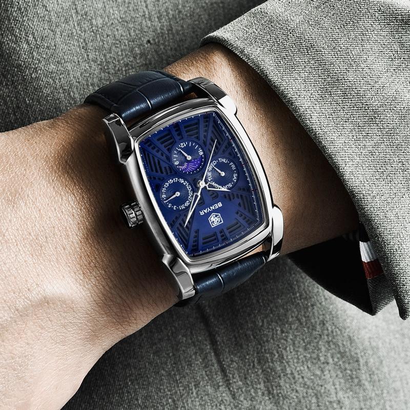 BENYAR Men 39 s Watches 2019 Wrist Watch Men Quartz Top Brand Luxury Moon Phase Male Watches Military Wristwatch Relogio Masculino in Quartz Watches from Watches