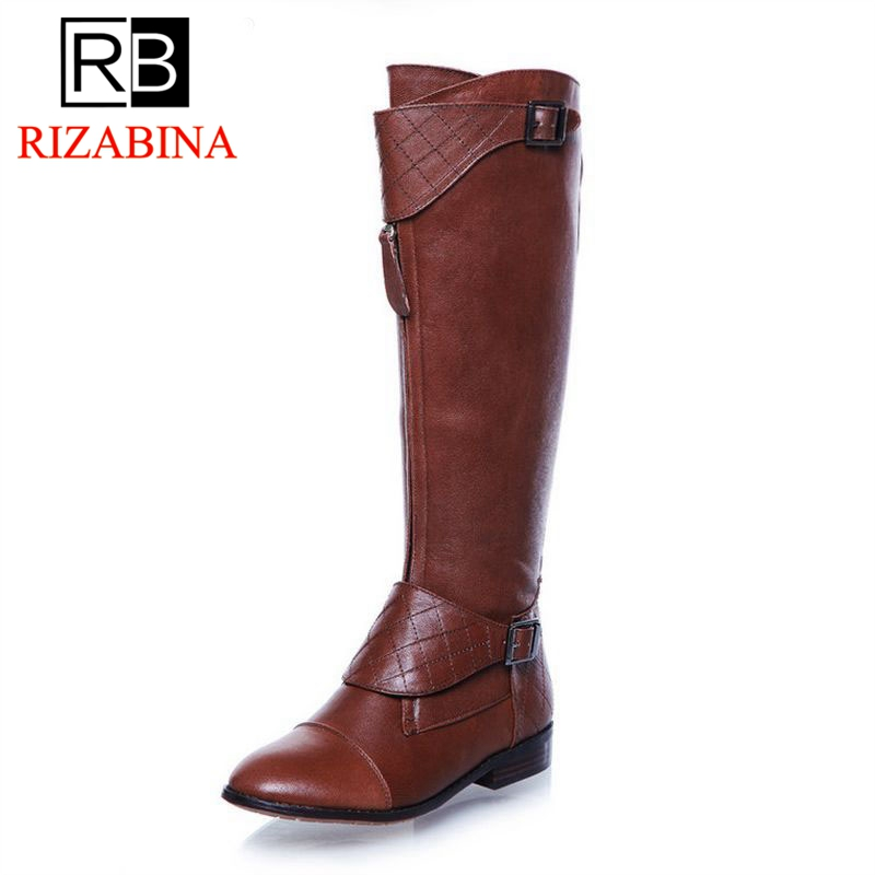 RizaBina woman over knee natrual genuine leather flat boots women snow botas winter warm boot shoes R1842 EUR size 34-40 women real natrual genuine leather flat ankle boots half short botas autumn winter boot warm footwear shoes k4418 size 34 43
