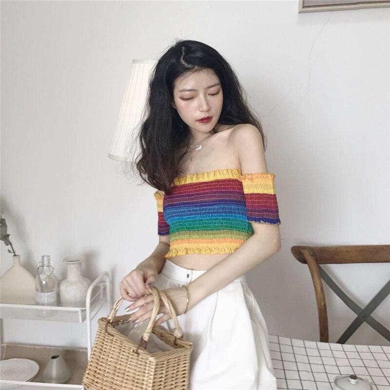 Women Slash Neck Short Sleeve Cropped Ruffled Rainbow Striped Elastic Chiffon Printing Cropped T Shirts Girls Crop Tops