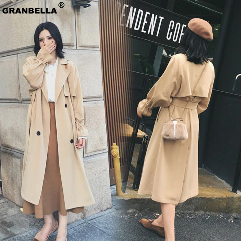 New Fashion 2019 Fall /Autumn Casual Double breasted Simple Classic Long   Trench   coat with belt Chic Female Windbreaker Raincoat