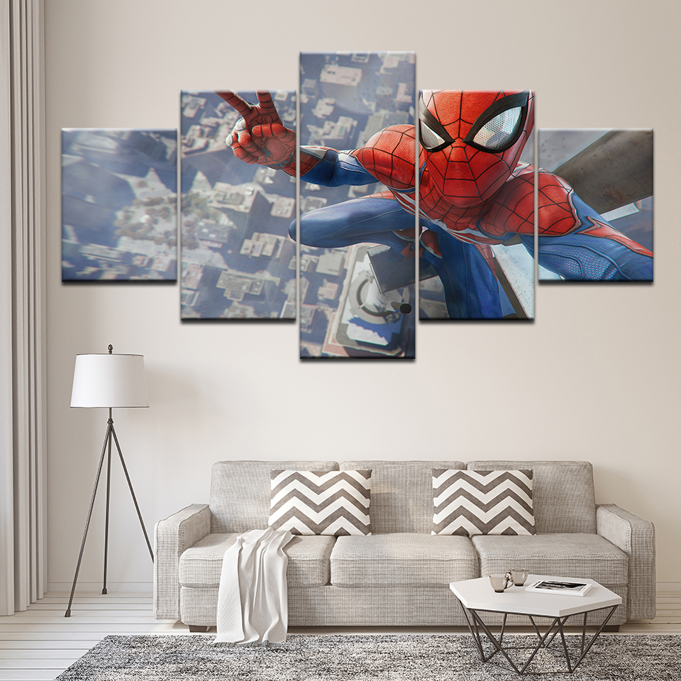 Canvas Painting cartoon Spider man 5 Pieces Wall Art Painting Modular Wallpapers Poster Print for living room Home Decor