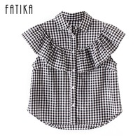 FATIKA 2017 Womens Summer Tops And Blouses Turn Down Collar Ruffles Plaid Butterfly Sleeve Short Buttons