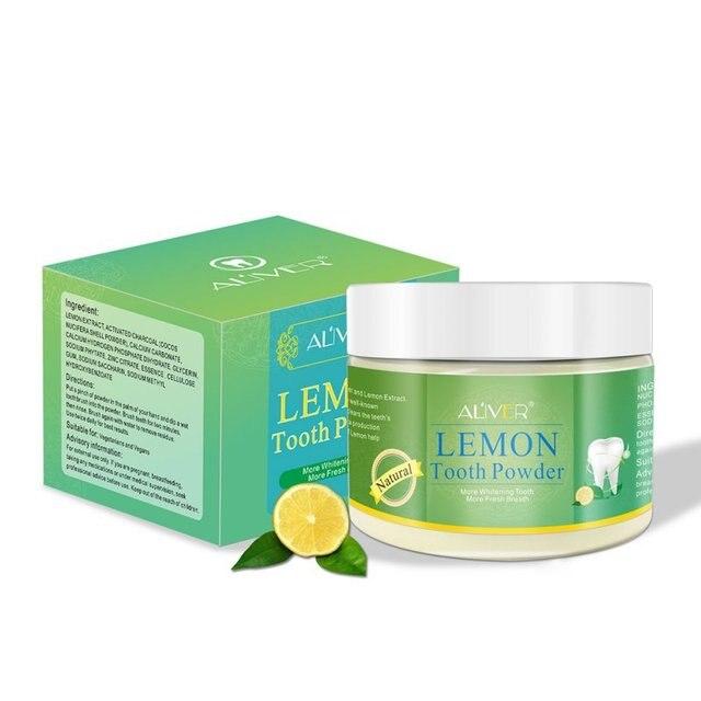 Nuevo carbón activado blanqueamiento en polvo con sabor a limón Natural dientes blanqueamiento polvo de carbón mancha sarro eliminación