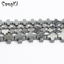 Natural Stone Bead Cross Hematite Loose Spacer Beads for Jewelry Making Diy Necklace Bracelet 15 4x4mm 6x6mm 8x8mm 10x10mm