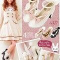 2016 orelhas de coelho Novo fita fluffy bombas simples de salto alto sapatos Spuer Bonito estudante japonês lolita linda bombas sapatos cosplay