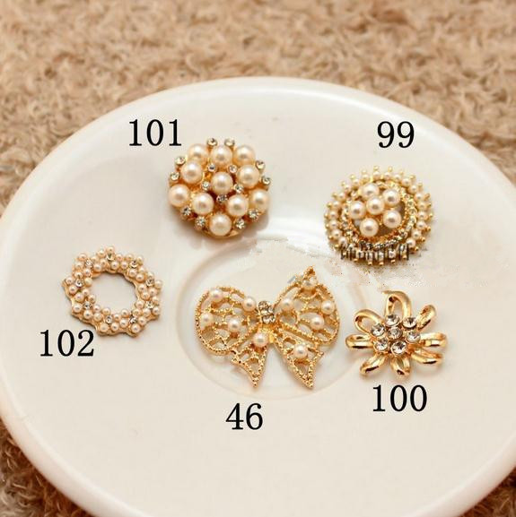 Free Shipping!50pcs/lot 5 styles Alloy jewelry accessories metal rhinestone button with pearl for Hair Flower Wedding Invitation