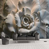 Custom Mural Wall Papers 3D Stereo Relief Rose Flowers Abstract Art Wall Decor Cafe Restaurant Living Room Bedroom Wallpaper 3 D